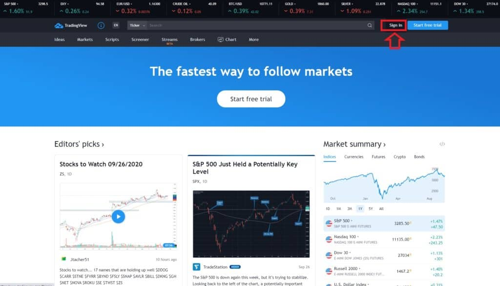 Tradingview sign in