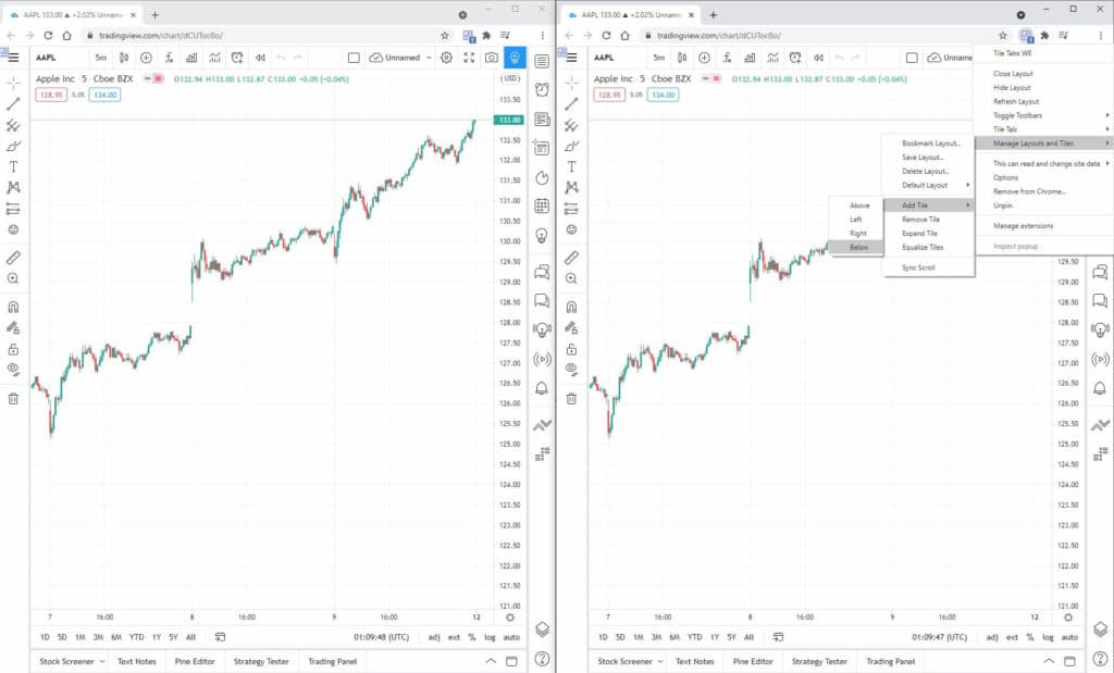 Create multi chart tradingview with Tile Tabs WE extension