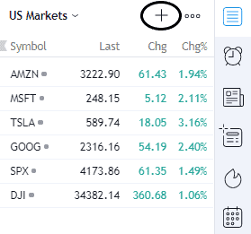 adding stock to a watchlist in tradingview