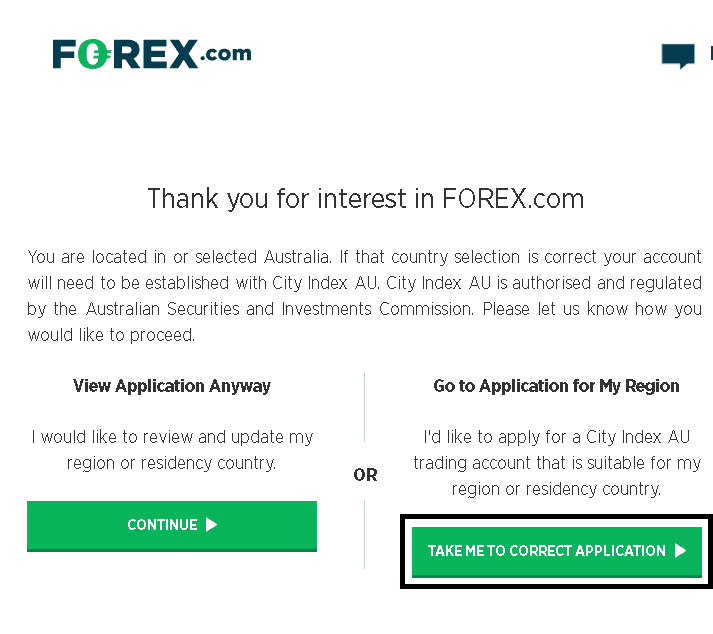 How to apply for Forex.com brokerage account as Australian resident